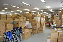 仙台郡山倉庫に保管されている救援物資